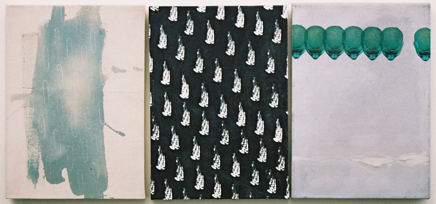 Untitled, 1996, from a series of 9 mixed media works on canvas, each 25cm x 35cm